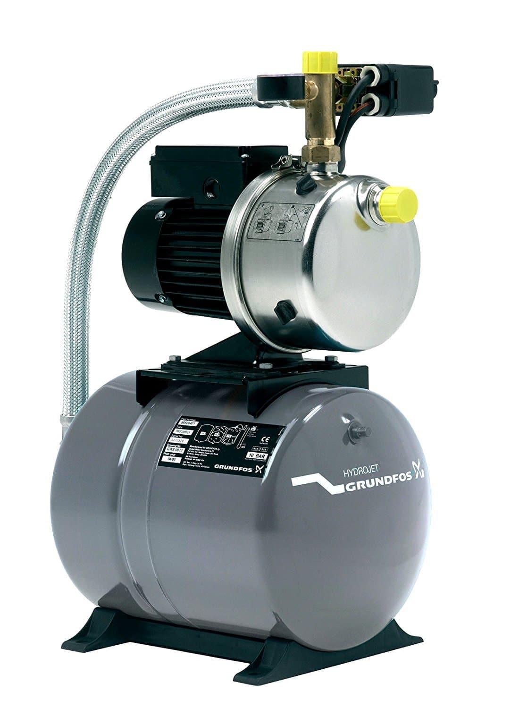 Grundfos 4661BPBB Hauswasserwerk JP6, Druckbehälter Volumen 60 L, Pumpengehäuse: Nichtrostender Stahl (Maximaler Betriebsdruck: 6 bar, Nennspannung: 1 x 220V – 240V, Laufrad: Edelstahl)