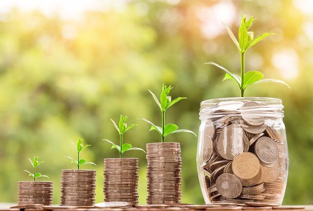 Durch Münzen wird dargestellt, wie das günstige Kaufen einer Hauswasserpumpe das Vermögen vermehren kann